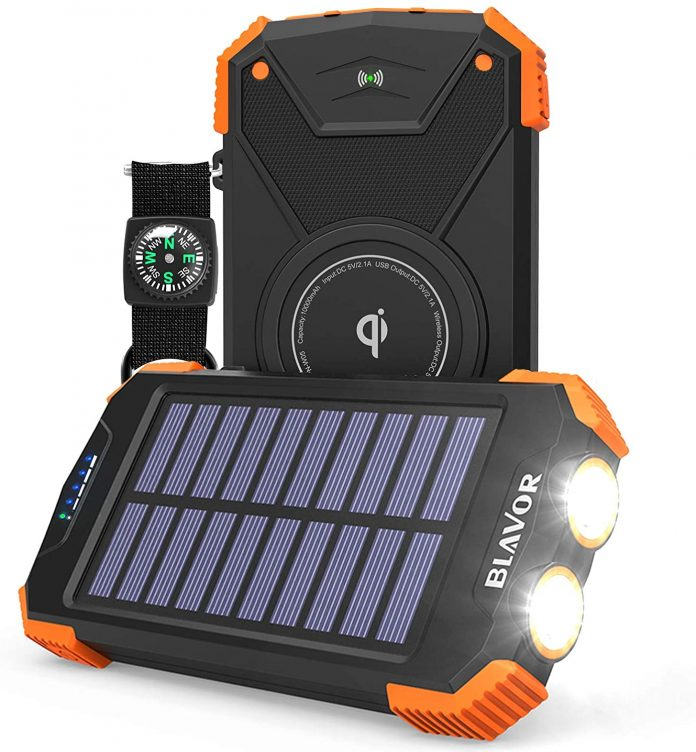 best Solar power Bank, Qi Portable Charger for camping