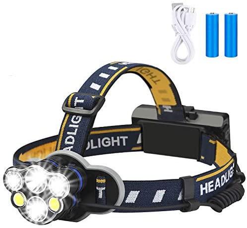 best Rechargeable Headlamp, Elmchee 6 LED 8 Modes 18650 USB backpacking flashlight