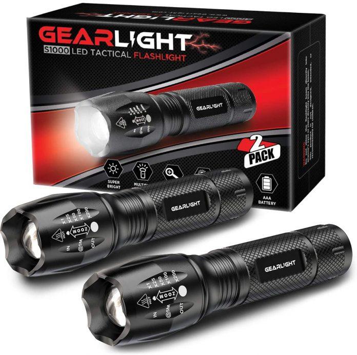 best GearLight LED Tactical Flashlight S1000 [2 Pack] - High Lumen backpacking flashlight