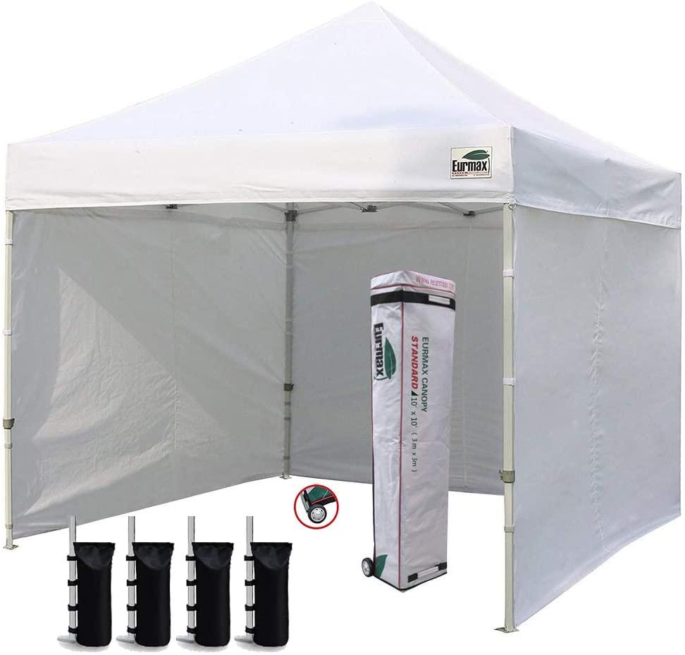 best Eurmax 10 X 10 Ft Ez Pop Up Canopy Tent With 4 Removable Zipper Sidewalls