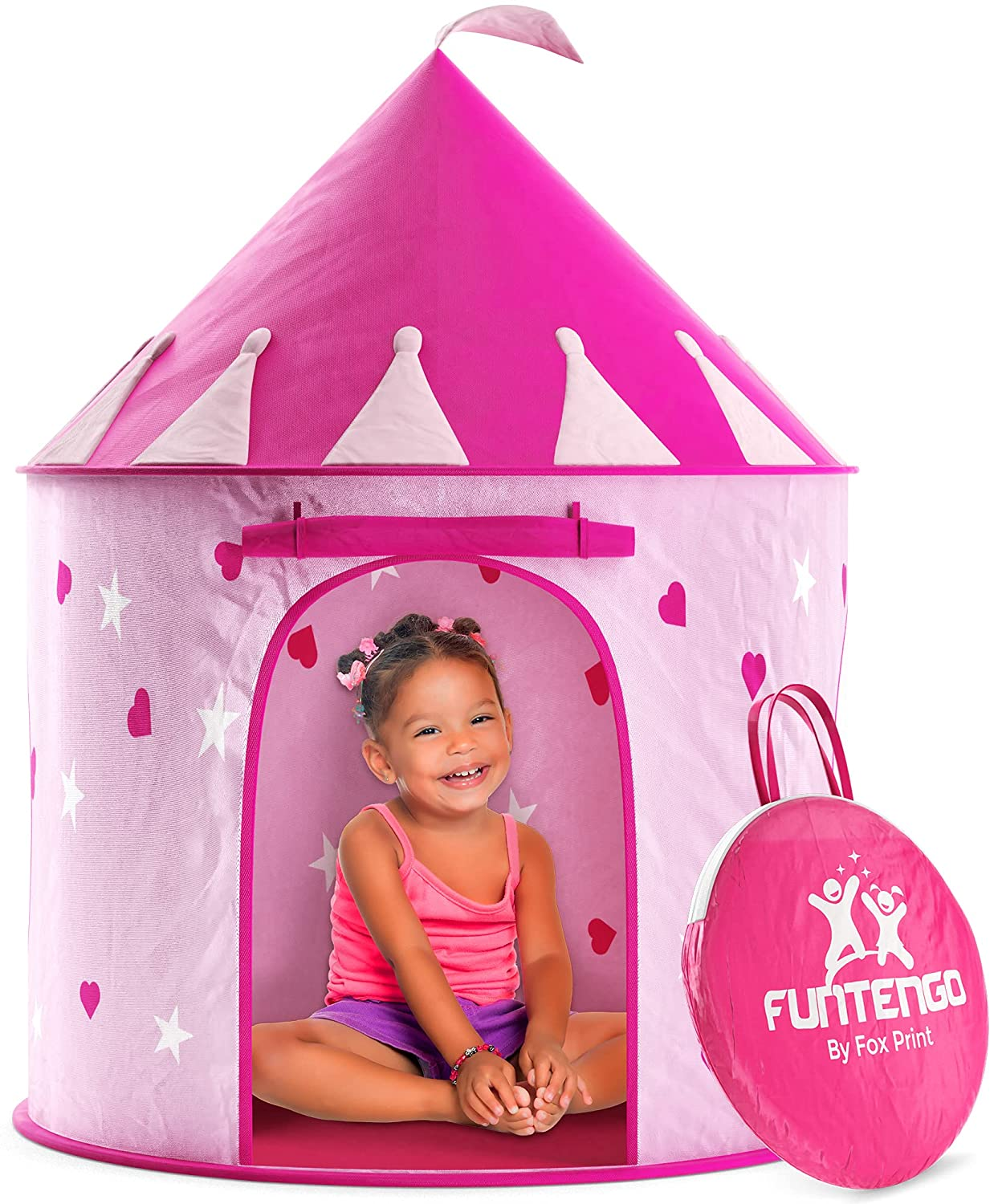 best FoxPrint Princess Castle Play Tent, Collapsible Pop Up Pink Kids' Play Tent For Indoor and Outdoor Use
