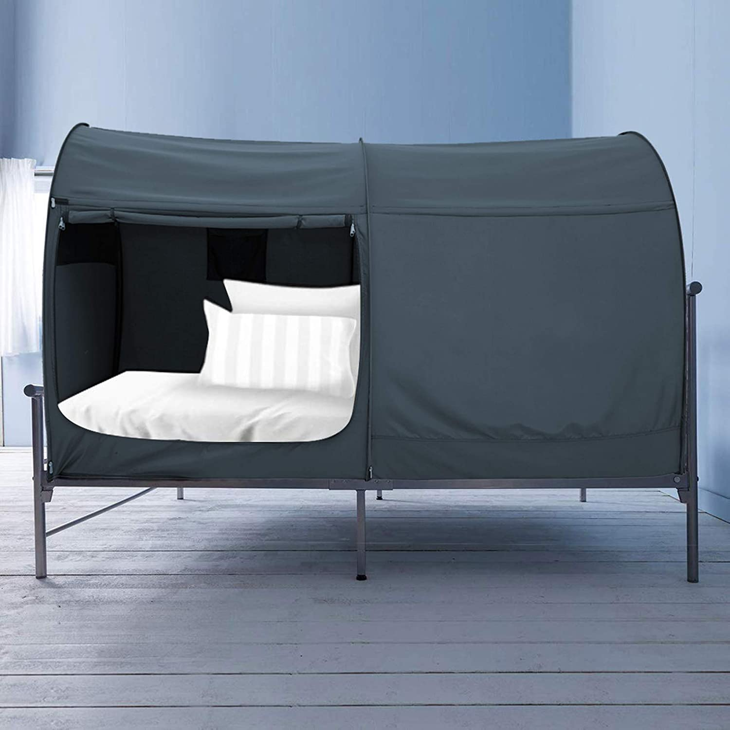 best Alvantor Bed Canopy Bed Tents, Privacy Space Twin Dream Tents - Grey Tunnel Tent